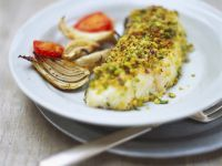 Pistachio Crusted Cod Fillets with Roasted Onions and Tomatoes recipe