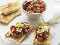 Pita Bread with Feta and Marinated Tomatoes recipe