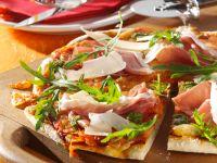 Pizza Margherita with Prosciutto and Arugula