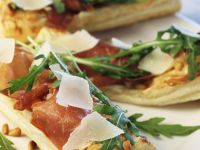 Pizza Schittenkopf with Prosciutto, Arugula and Parmesan recipe