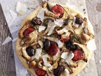 Pizza with Artichokes, Spicy Sausage and Olives recipe