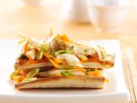 Pizza with Chicken, Vegetables and Peanut Ginger Sauce recipe