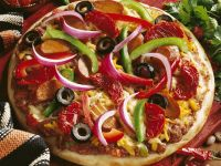 Pizza with Sausage, Peppers, Onions and Olives recipe