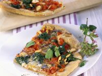 Pizza with Spinach, Pine Nuts, and Gorgonzola recipe