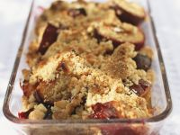Plum Crumble with Pine Nuts