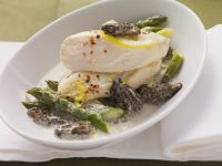 Poached Chicken Breast with Asparagus, Morels and Lemon recipe