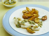 Poached Cod with Baked Potatoes recipe