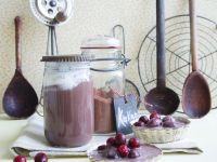 Poached Cranberries with Hot Chocolate Sauce recipe