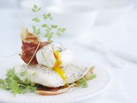 Poached Egg and Ham over Cod recipe