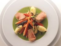 Poached Lamb with Olive Dumplings and Vegetables recipe