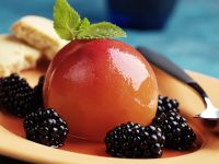 Poached Peaches with Blackberries recipe