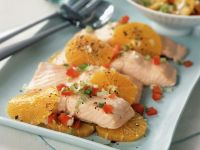 Poached Salmon Fillet with Orange and Relish recipe