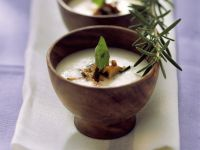 Polenta Cream Soup with Chanterelles and Olives