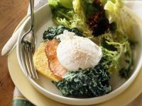 Polenta Slices with Poached Eggs and Creamed Spinach