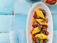 Polenta Slices with Vegetable Sauce recipe