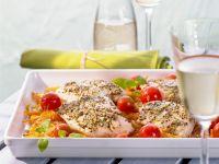 Pollock Fillets on Vegetables recipe