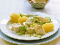 Pollock with Cucumber and Mustard Sauce recipe