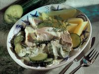 Pollock with Potatoes and Cucumber Sauce recipe
