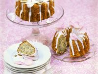 Poppy Seed Bundt Cake with Coconut and Candied Flowers recipe
