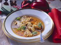 Porcini and Veal Soup with Crêpes recipe