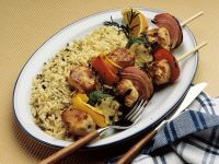 Pork and Vegetable Skewers with Rice recipe