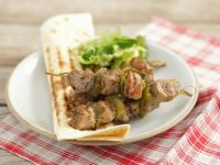 Pork Brochettes with Grilled Tortilla Breads recipe