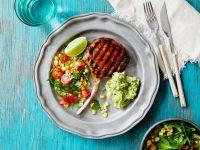 Pork Chop with Guacamole and Salad recipe