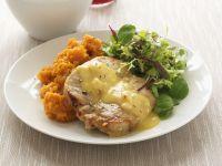 Pork Chops with Orange Cream and Mashed Sweet Potatoes recipe