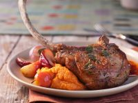 Pork Chops with Potato and Pumpkin Puree recipe