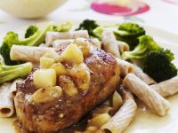 Pork Chops with Whole Wheat Pasta, Apple Sauce and Broccoli recipe