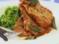 Pork Cutlets with Marsala-garlic Sauce and Potato-pea Puree recipe