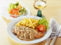 Pork Cutlets with Mushroom Cream Sauce and Spaetzle recipe