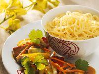 Pork Cutlets with Noodles and Sesame-Hoisin Sauce recipe