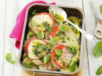 Pork Cutlets with Tomatoes, Mozzarella and Zucchini recipe