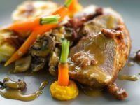 Pork Loin with Mushrooms and Potato Gratin recipe