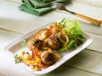Pork Meatballs with Bell Pepper Salad recipe