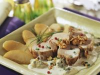 Pork Medallions with Blue Cheese, Pears and Walnuts recipe