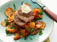 Pork Medallions with Sweet Potato Chips recipe