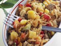 Pork Ragout with Pickled Cabbage, Tomatoes and Potatoes recipe