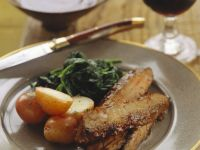 Pork Ribs with New Potatoes and Spinach recipe
