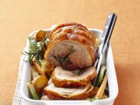 Pork Roast with Stuffing and Baked Vegetables recipe