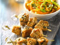 Pork Skewers with Carrot Salad recipe