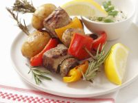 Pork Skewers with Peppers and Mushrooms recipe