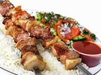 Pork Kebabs with Salad Garnish recipe