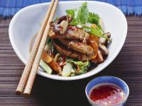 Pork Tenderloin with Cabbage, Snow Peas and Mushrooms recipe