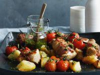 Pork Tenderloin with Vegetables and Pesto recipe