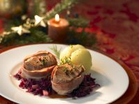 Pork with Bacon, Red Cabbage and Potato Dumplings recipe