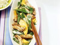 Pork with Mango and Snow Peas recipe