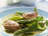 Pork with Salsa Verde and Green Asparagus recipe