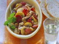 Pork with Sausage and Mushrooms recipe